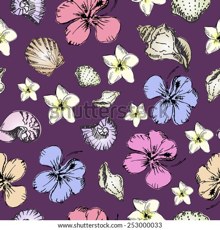 Seamless pattern of tropical flowers and seashells on lilac background. Colorful sketch.   - stock vector