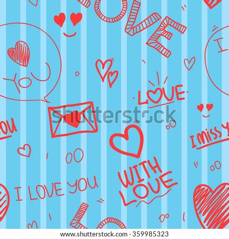 seamless pattern of Valentines day with colorful hearts and letters. Valentines hearts. Kids elements for scrap booking. Childish background. Hand drawn vector illustration. - stock vector