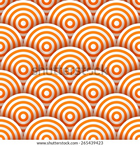 Seamless pattern of white and orange striped circles with drop shadows. Vector illustration - stock vector