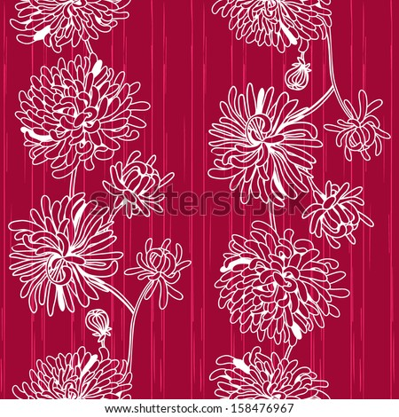 Seamless pattern of white chrysanthemums on a contrasting background - stock vector
