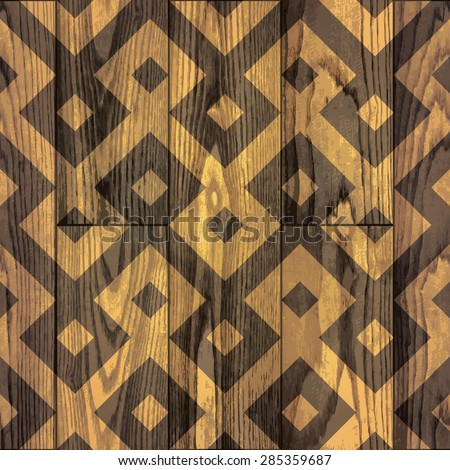 seamless pattern of wood texture background with geometrical ethnic ornament. vector illustration.  - stock vector