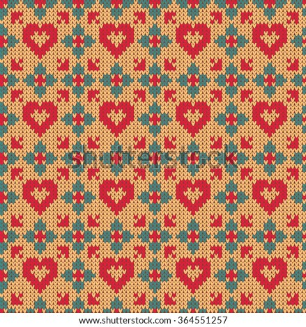 Seamless pattern on the theme of holiday Valentine's Day with an image of the Norwegian and fairisle patterns. Hearts and flowers on a yellow background. Wool knitted texture. Vector Illustration - stock vector