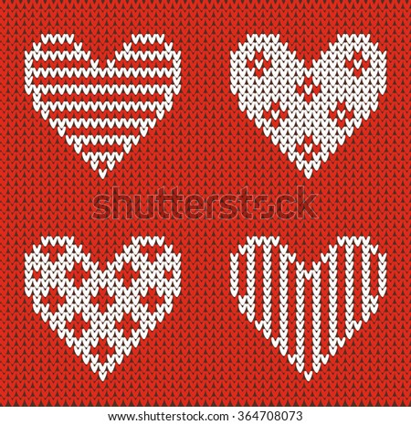 Seamless pattern on the theme of holiday Valentine's Day with an image of the Norwegian and fairisle patterns. White hearts on a red background. Wool knitted texture. Vector Illustration - stock vector