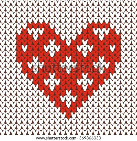 Seamless pattern on the theme of holiday Valentine's Day with an image of the Norwegian and fairisle patterns. Red hearts on a white background. Wool knitted texture. Vector Illustration - stock vector
