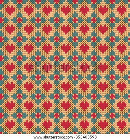 Seamless pattern on the theme of holiday Valentine's Day with Norwegian and fairisle patterns.Red heart, turquoise flowers on a yellow background. Wool knitted texture. Vector Illustration - stock vector