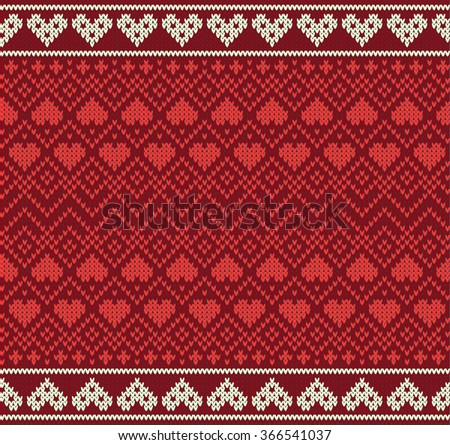 Seamless pattern on the theme of Valentine's Day with an image of the Norwegian and fairisle patterns and hearts. Wool knitted texture. Vector Illustration - stock vector