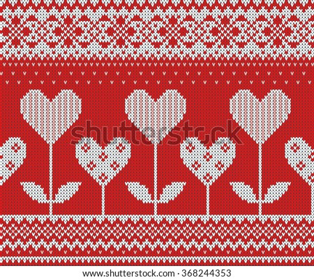 Seamless pattern on the theme of Valentine's Day with an image of the Norwegian and fairisle patterns. White hearts and flowers on a red background. Wool knitted texture. Vector Illustration. - stock vector