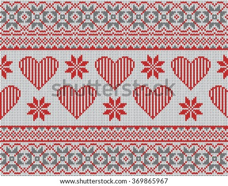Seamless pattern on the theme of Valentine's Day with an image of the Norwegian and fairisle patterns. Red hearts and snowflake on a white background. Wool knitted texture. Vector Illustration. - stock vector