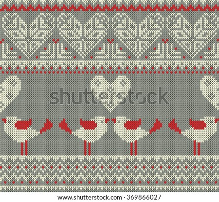 Seamless pattern on the theme of Valentine's Day with an image of the Norwegian and fairisle patterns and hearts. Figure showing kissing birds. Wool knitted texture - stock vector