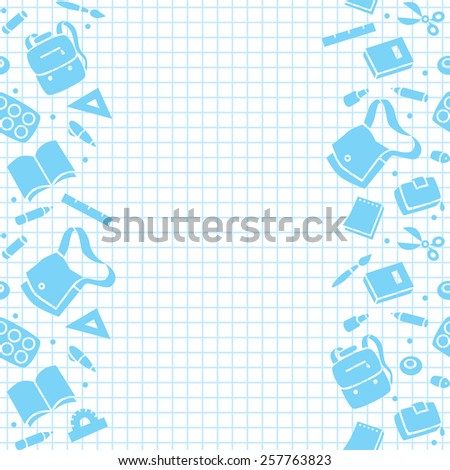 Seamless pattern or design template with border of education equipment and background in the box, like in the school notebook - stock vector