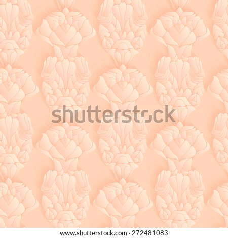 Seamless pattern, pastel color background with stylized lotus flowers. 3D elements with shadows and highlights. Paper cut vector element.  - stock vector