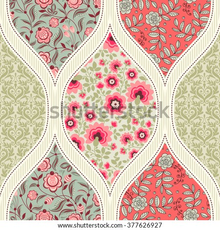 Seamless pattern. Patchwork - stock vector