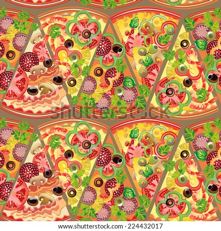 Seamless pattern pieces of pizza - stock vector