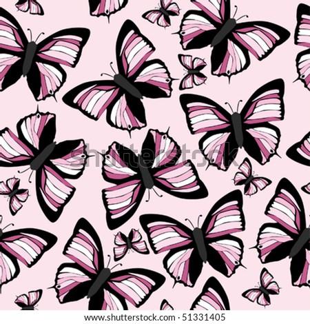 Seamless pattern pink butterflys. Will tile endlessly. Illustrator 8 eps vector in CMYK. - stock vector