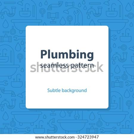 Seamless pattern, plumbing theme - stock vector