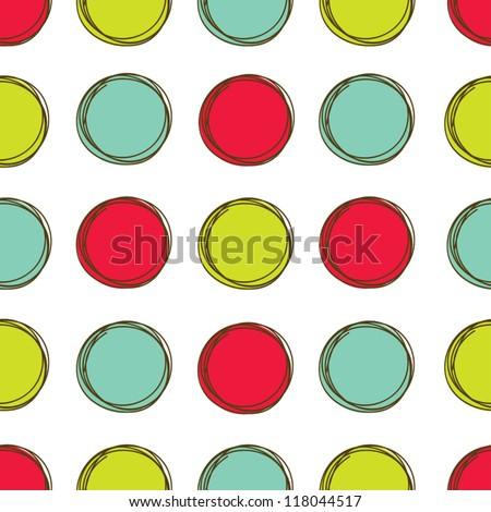 Seamless pattern, polka dot fabric, wallpaper, vector. - stock vector