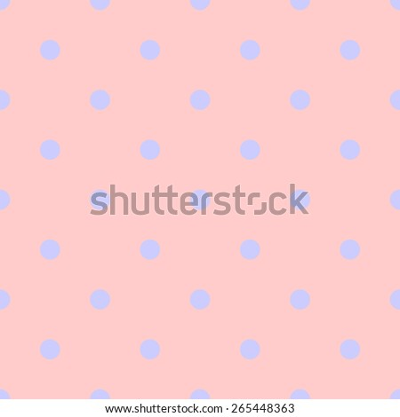 Seamless pattern polka dot style pale orange peach color and light pastel purple - stock vector