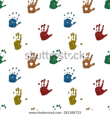 Seamless pattern. Prints of children's handprints. Colorful prints on white background. Vector, EPS10 - stock vector