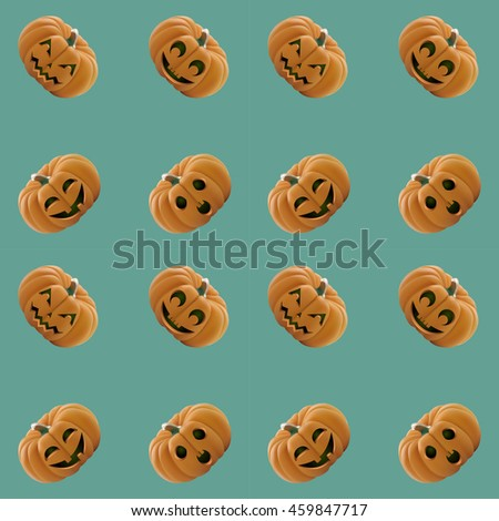 seamless pattern pumpkin with various facial expressions . happy Halloween. vector illustration - stock vector