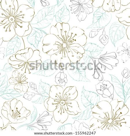 Seamless pattern scatch of spring sakura. Vector illustration. - stock vector