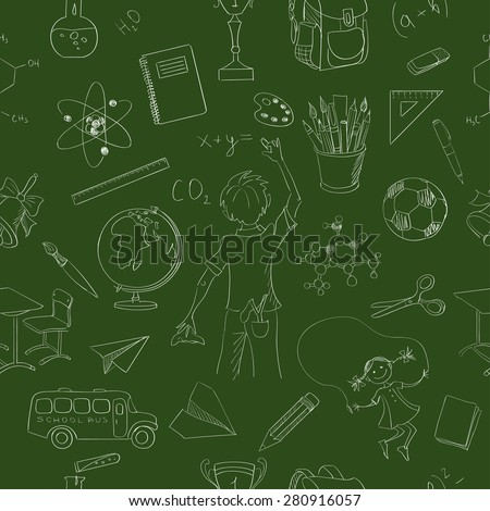 seamless pattern school board freehand drawing, excellent vector illustration, EPS 10 - stock vector