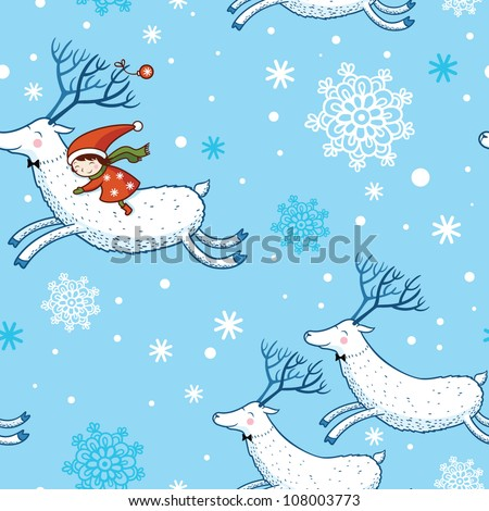 Seamless Pattern. seamless Christmas pattern .seamless pattern with New Year's.Winter. Deer. - stock vector