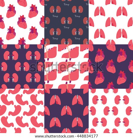 seamless pattern set. human organs. heart, liver, stomach, lungs. vector illustration - stock vector