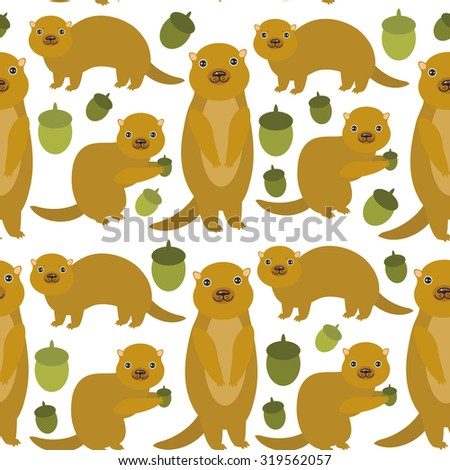 Seamless pattern Set of funny Gopher ground squirrel isolated with acorn on white background. Vector - stock vector