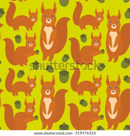 Seamless pattern Set of funny red squirrels with Gopher ground squirrel fluffy tail with acorn on green background. Vector - stock vector