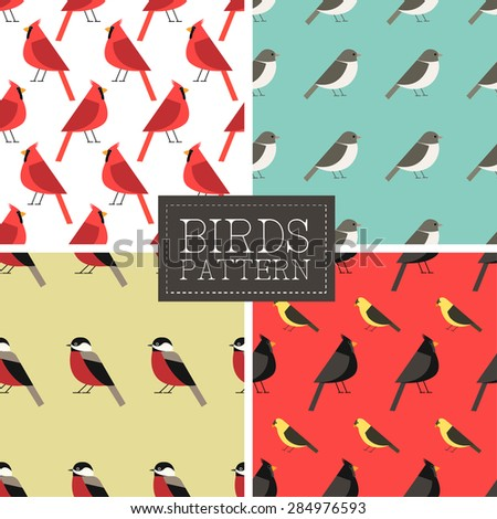 seamless pattern set with birds. vector illustration - stock vector