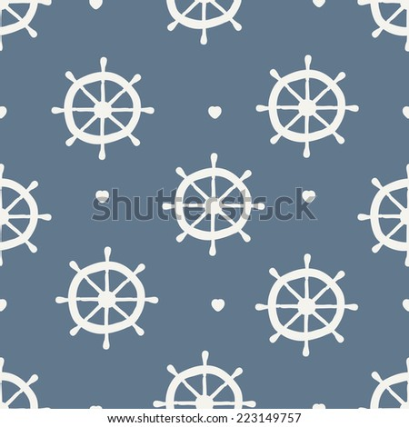 seamless pattern. ship wheel with heart - stock vector