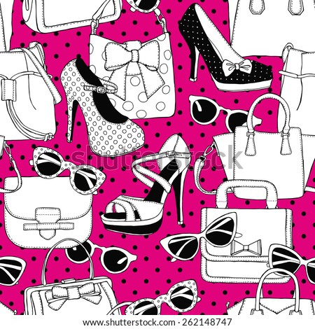 Seamless Pattern Shoes Bags Glasses Black & White & Pink - stock vector