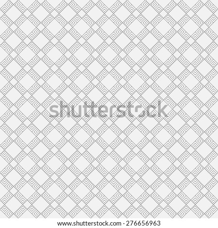 Seamless pattern. Simple geometric texture with the repeating lines and rhombuses. Classical tile. Monochrome. Backdrop. Web. Vector element of graphic design for your project - stock vector