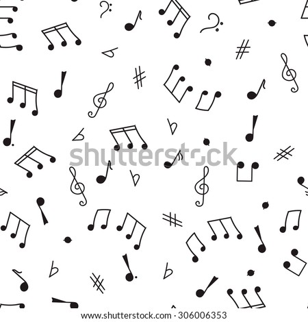 Seamless pattern sketch on a musical theme, notes, music, treble clef, bass clef, black contour on a white background - stock vector