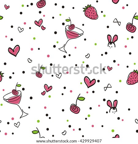 Seamless pattern, Strawberry cocktail, white background. A cheerful summer pattern with cocktail, berries, hearts and confetti. Vector, EPS 10. Fabric, packing paper, invitation,  celebration, etc. - stock vector