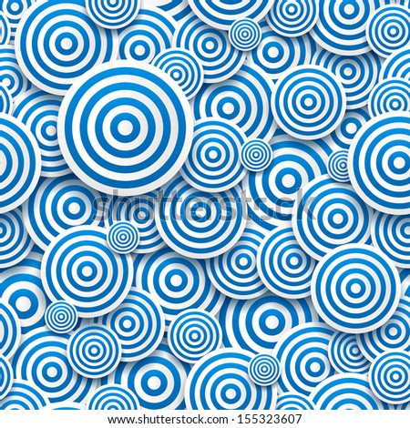 Seamless pattern striped circles of different sizes with drop shadows. Vector illustration - stock vector