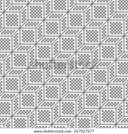 Seamless pattern. Stylish geometric texture with repeated cubes, diamonds, squares. Pixel texture. Monochrome. Backdrop. Web. Vector illustration for your design - stock vector