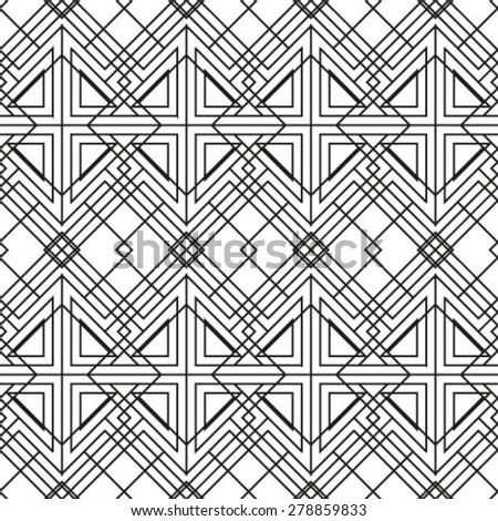 Seamless pattern, stylish geometric texture with repeated polygonal shape. Rhombus. Diamond. Monochrome. Backdrop.  Vector illustration - stock vector