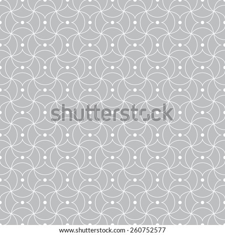 Seamless pattern. Stylish geometric texture with repeating circular elements and points. Monochrome. Backdrop. Web. Outline. Vector illustration - stock vector