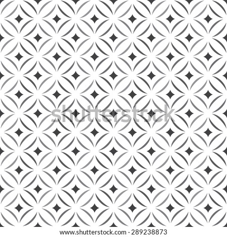 Seamless pattern. Stylish texture. Tile with regularly repeating geometrical elements, shapes, rhombuses, arches, crossed circles. Monochrome. Backdrop. Web. Vector element of graphic design - stock vector