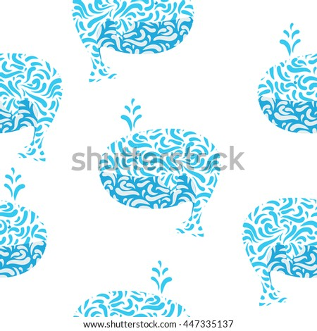 seamless pattern Stylized artistic whale  - stock vector