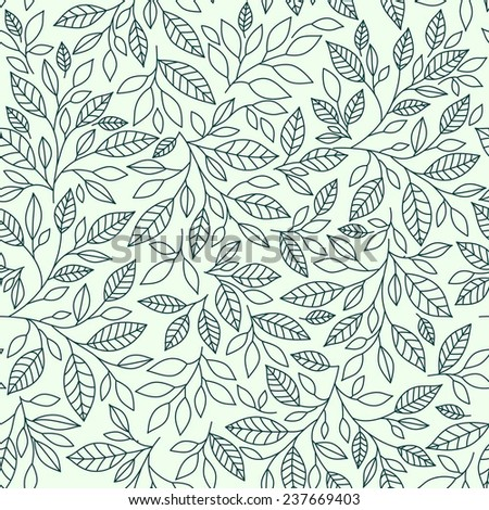 Seamless pattern, stylized leaves on vintage background - stock vector