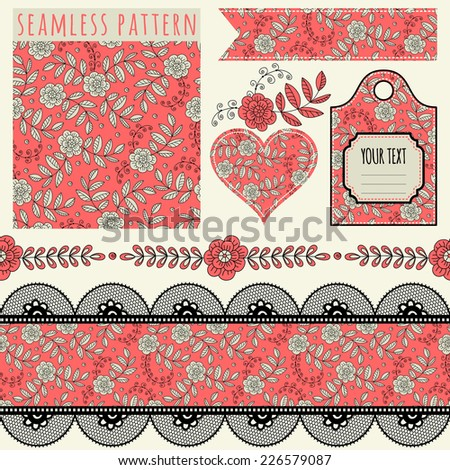 Seamless pattern, tags, vintage borders and elements. Templates. Set. - stock vector