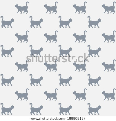 Seamless pattern. Texture with colorful cats with curved tails. Can be used for textile, website background, book cover, packaging. - stock vector