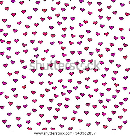 Seamless pattern. Tiny pink and purple hearts. Abstract repeating. Cute backdrop. White background. Template for Valentine's, Mother's Day, wedding, scrapbook, surface textures. Vector illustration. - stock vector