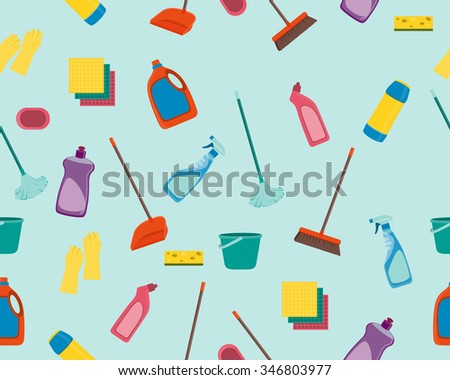 Seamless pattern tools for cleaning. Vector illustration - stock vector