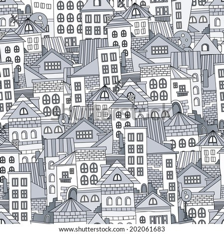 Seamless pattern town houses. Vector illustration - stock vector