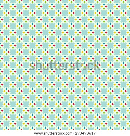 Seamless pattern. Trendy color texture. Bright colourful pattern with regularly repeating geometrical elements, shapes, pixels, squares, rhombuses. Backdrop. Web. Vector element of graphic design - stock vector