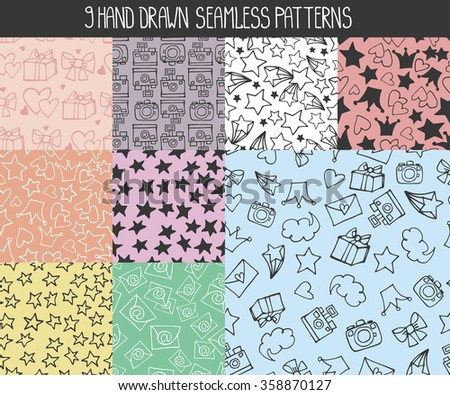 Seamless  pattern.Trendy Hand drawing blog background with lihear doodle design elements. Vector  illustration,vintage sketch.Wallpaper,backdrop, cute feminine decoration,colored, silhouette - stock vector