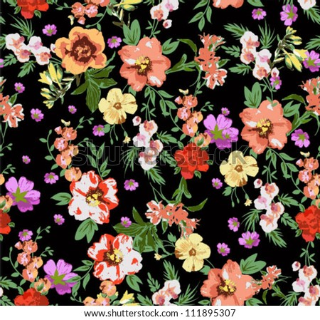 seamless pattern,tropical flowers,floral pattern,chic vectors,sweater print pattern - stock vector